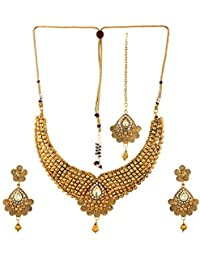 Fedexo Gold Plated With Cz Necklace, Earring With Maangtika Set