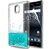 LeYi Nokia 3 Hülle Glitzer süße Frauen Mädchen Flüssig Bewegende Treibsand Transparent Dual Slim Dünn TPU Silikon Handyhülle mit HD-Schutzfolie für Nokia 3 Case Cover ZX Turquoise