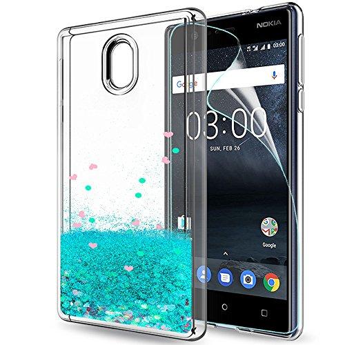 LeYi Hülle Nokia 3 Glitzer Handyhülle mit HD Folie Schutzfolie,Cover TPU Bumper Silikon Flüssigkeit Treibsand Clear Schutzhülle für Case Nokia 3 Handy Hüllen ZX Turquoise