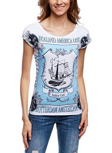 oodji Ultra Damen Lässisges Baumwoll-T-Shirt, Weiß, DE 42/EU 44/XL (Verziert Print Tee)