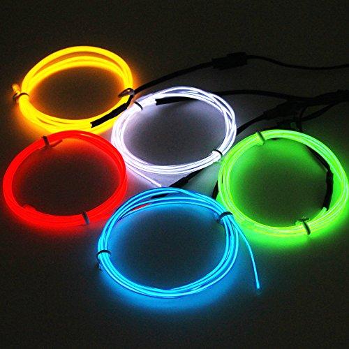EFK 5 x 1 M fünf Farben EL-Drahtseil-EL Neon-Beleuchtung leucht Schnur für Weihnachtsfest Halloween-Kostüm-Party Rave-Batterie-Kasten (Home Kostüme)