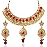 Variation Maroon Kundan Necklace Set For Women - VD13225