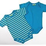 Baby Kurzarm Bodys, 2-teiliges Unterwäsche Set - aquatürkis uni + weiße Ringelstreifen - 2er Set Sommer Body Zweierpack für Mächen od. Jungen, 100% Öko-Tex Baumwolle von DIMO