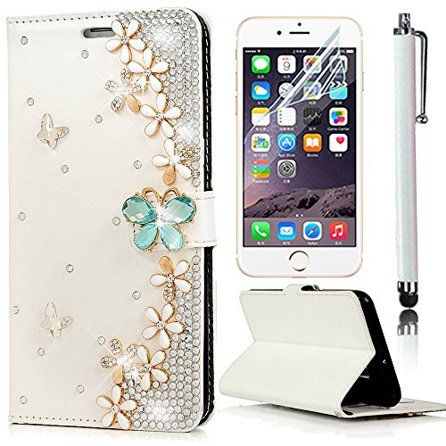 Sunroyal® iPhone 7 Etui Housse Coque PU Cuir Leather Noir Flip Case Cover Bling Crystal Strass Luxe Élégant Cas Sac Swag Portefeuille Pochette PC Plastique Solide Shell Hull Couvrir Couvercle Rabattab Bling 09
