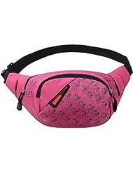 DDLBiz-Bolsa de viaje Bolsa de running para hombre mujer Bolsa Riñonera Mochila de nailon viaje manchas pecho rosa Talla:talla única