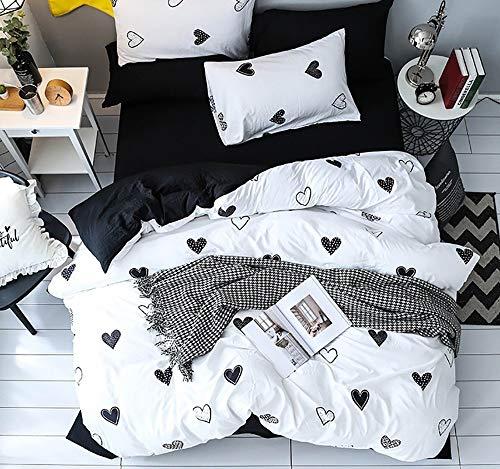 3/4 STÜCKE 100% Polyester König Bettwäsche-Set Weiß Schwarz Herz Bettwäsche-Sets Schwarz Bettlaken Weiß Kissenbezug Trösterbezug Bettwäsche Bettbezüge Bettwäsche-Sets ( Size : UK King 4pcs ) (Schwarz König Weiße Bettwäsche)