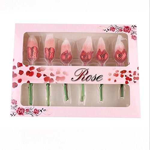 Rose Type Pinceau Cosmétique Ensemble Maquillage Outil De Beauté Set 6 Roses Pinceaux De Maquillage , 6 Red And Green Gradient Handle Rose Boxed