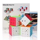 Roxenda Bundle di Cubo di velocità, Cubo Magico Set di Cubo di Puzzle Speedless 2x2x2 3x3x3 4x4x4 5x5x5 con Confezione Regalo, Tutorial Segreto per cubetti di velocità