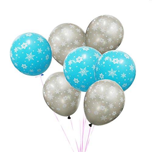 100 Stück Latex 12 Zoll Schneeflocke gedruckt Ballons Hochzeit Kinder Geburtstag Weihnachten Urlaub Party Dekorative Luftballons Silber Blau (Schneeflocken Latex)