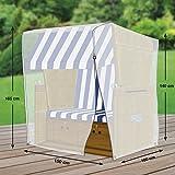 Premium Schutzhülle für Strandkorb aus Polyester Oxford 600D - lichtgrau - von 'mehr Garten' - Größe XL (Breite: max. 150cm)