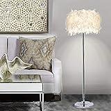 HXMSXROMID Feather Stehleuchte, Elegante Moderne stilvolle Stehleuchte mit weißer Feder Shade Metallsockel Pedal Switch E27 Lampenfassung ideal für Schlafzimmer Wohnzimmer