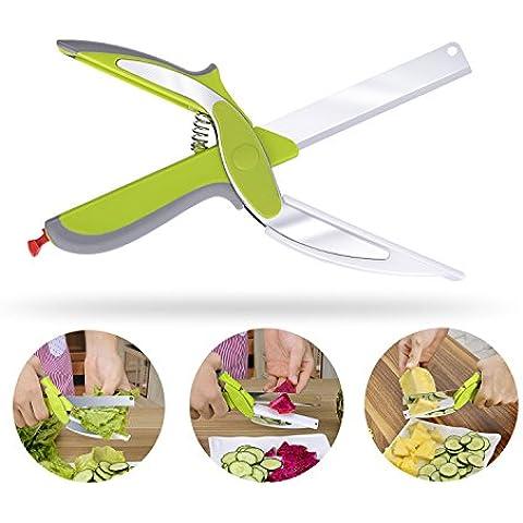 Tijeras Inteligentes Clever Cutter 2-en-1 Helicóptero de Alimentos de Cuchillos y Tijeras de Cocina Junta Queso Verduras Frutas Pan Herramientas de Corte del Cuchillo de Cocina Inteligente (Verde)