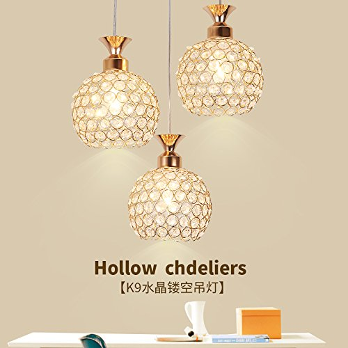 3 Stück-schlafzimmer-tabelle (BESPD Drei Crystal Restaurant moderne einfache Mahlzeit kreative led-Tabelle Hängeleuchte Kronleuchter Deckenlampe gold Einzelne Stück 9 Watt LED)