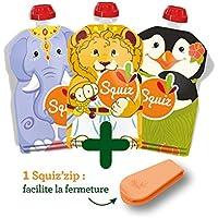 SQUIZ CLASSIC - lot de 3 Gourdes Reutilisables 130ml pour compotes et purees – FABRICATION SUISSE