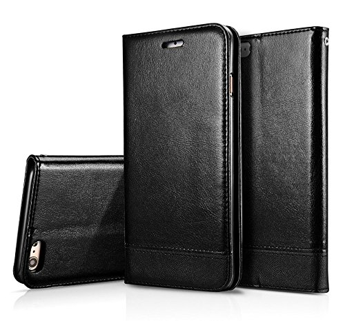 Luxus Mixed Stitching Stil Double Side Magnetic Closure Ultra Slim Premium Leder Tasche mit Kickstand und Card Slots für iPhone 7 und 8 ( Color : White ) Black