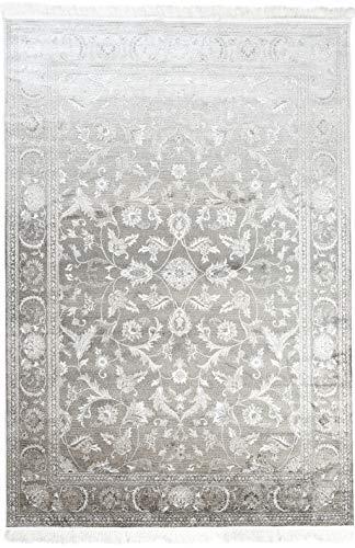 Perser Antik Teppich (Carpeto Rugs Teppich Orientalisch Kurzflor 100% Viskose Grau Beige 185 x 275 cm XL)
