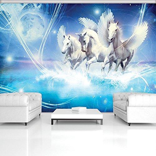 FORWALL Fototapete Tapete Pegasus auf Blauem Hintergrund P8 (368cm. x 254cm.) Photo Wallpaper Mural AMF588P8 Gratis Wandaufkleber Tiere Pferd Pegasus Blau Mond Flügel