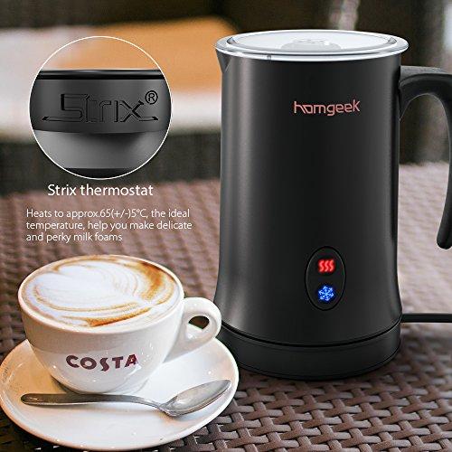 Homgeek Montalatte, Montalatte elettrico per liquidi con funzioni di latte caldo e freddo Funzionamento silenzioso, 150ml 500W, rivestimento antiaderente - 3
