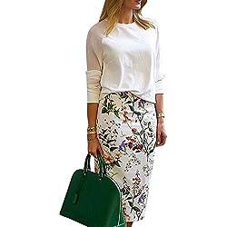 Falda de Tubo con Estampado Cintura Alta Elástico Falda de Lápiz para Mujer Como La Imagen XL