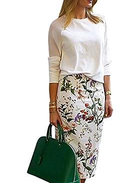 Falda de Tubo con Estampado Cintura Alta Elástico Falda de Lápiz para Mujer
