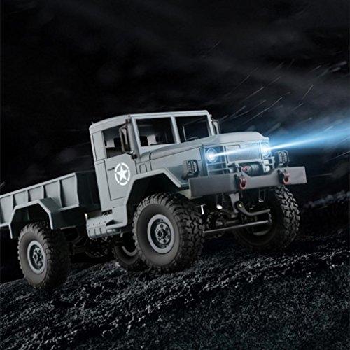 Fulltime® WPLB-14 4WD RC Militär LKW Legierung Chassic Rahmen 2.4G Wireless 1/16 Tough Truck mit 3kg Tragfähigkeit, 4 unabhängige Aufhängung mit 3 Differentialsystem, 34 x 14 x 15cm, 1200g (Armeegrün)
