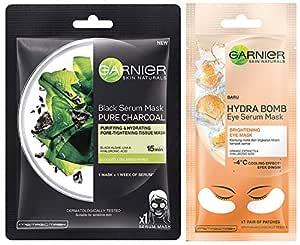 Garnier Skin Naturals Charcoal Face Serum Sheet Mask (Black) 28g And Hydra Bomb Eye Serum Mask Orange, 6 g