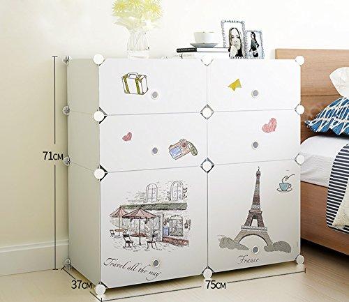 Flashing-DIY Style européen Creative ABS résine en plastique Mini armoire de lit, la mode petits armoires casiers avec portes, simple armoire de rangement moderne d'assemblage avec des autocollants ( taille : 75*37*71cm )
