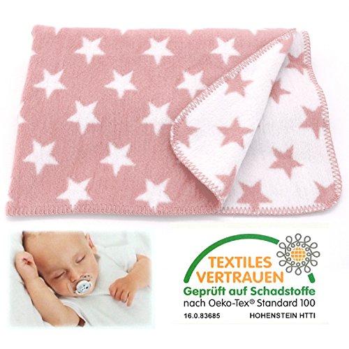 heimtexland SUPER SOFT Baby Kuscheldecke STERNE rosa 75x100 cm Babydecke Mädchen rose Baumwolle ÖKOTEX zertifziert Decke Typ526 (Rosa Baby-mädchen Rosen)