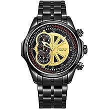 Relojes Hermosos, BUREI 7005 Multifuncional Tres Real Dial 3ATM impermeable reloj deportivo reloj de cuarzo con banda de acero inoxidable y ventana de zafiro y pantalla luminosa Funciones para los hombres ( SKU : WA0010B )