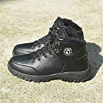 COFACE Mens Winter Snow Hiking Boots Leather Warm Faux Fur Lined Outdoor Walking Shoes 14