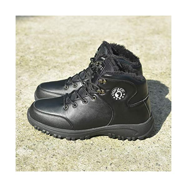 COFACE Mens Winter Snow Hiking Boots Leather Warm Faux Fur Lined Outdoor Walking Shoes 7