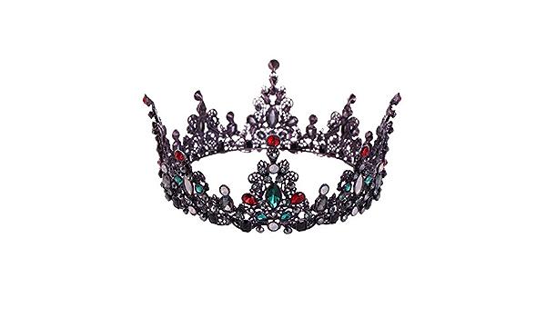 SPI Couronne de diad/ème Vintage Reine Roi mari/ée pour Les Femmes Coiffure Bal mari/ée Photographie diad/èmes et couronnes Accessoires de Bijoux de Cheveux Vert Argent