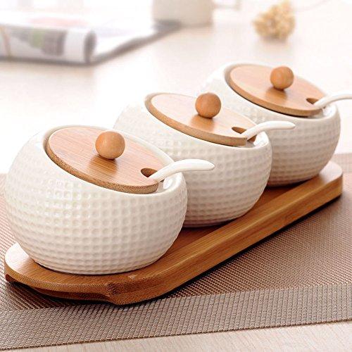 Einfache Spice jar kreativen drei-Satz Keramik Küche Gewürz jar spice Gläser Sauce-Flasche Spice Glas Set-A