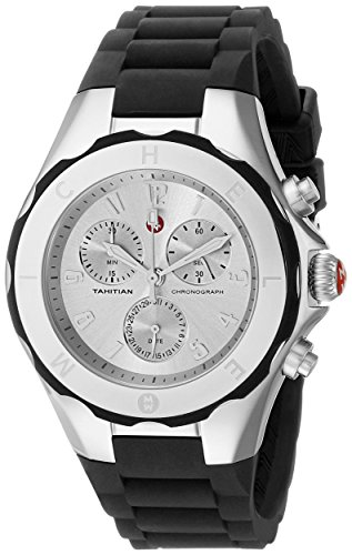 Michele Women's 36mm Black Silicone Band Steel Case Quartz Silver-Tone Dial Chronograph Watch MWW12F000033