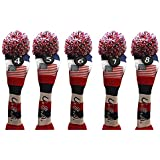 USA Majek Golf 4 5 6 7 8 Hybrid Set Headcovers Pom Pom Knit Limited Edition Vintage Classic Traditional Flag Stars Red White Blue Stripes Retro Head Cover 4-8 Set