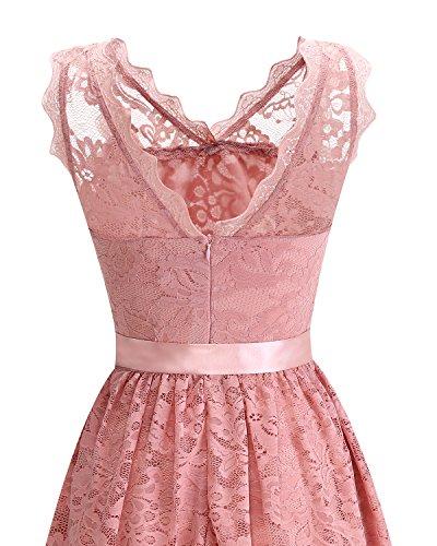 Homrain Damen Vintage 1950er Cocktailkleid V-Ausschnitt Spitzen Schwingen Rockabilly Abendkleid Pink