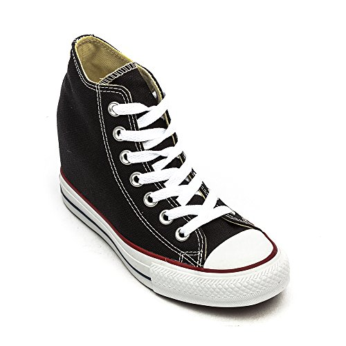 Converse Unisex – Adulto All Star Mid Lux Sneakers con zeppa Nero