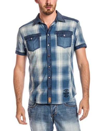 Timezone - Chemise casual Homme - 27-5004 Denim shortsleeve shirt Bleu (big indigo check)