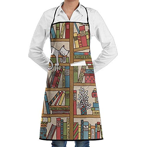 Drempad Schürzen Adjustable Bib Apron with Pockets - Commercial Restaurant and Home Kitchen Apron - Nerd Book Lover Kitty Sleeping Over Bookshelf in Library Academics Print