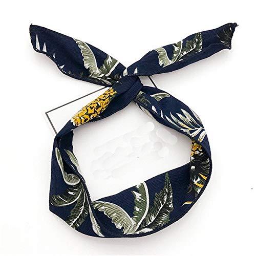 MZPLDTS Marke Multi Mit Einstellbare Stirnbänder Print Gestreifte Blume Frauen Haarband mit Metalldraht Kreative Mädchen Kopfband HaarschmuckBlatt Marineblau -