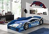 Vipack SCTDPOL Autobett Police Car, Maße Circa 175 x 48 x 78 cm, Liegefläche 70 x 140 cm, blau lackiert aufgedruckte Optik
