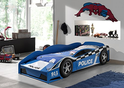 Vipack sctdpol toddler letto, auto polizia mdf azzurro, 70 x 140 cm