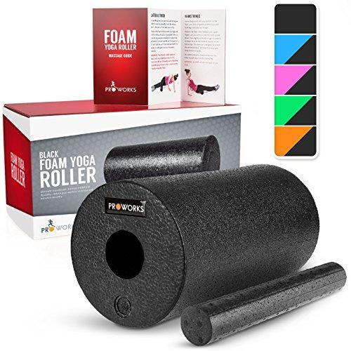 Proworks Faszienrolle aus Schaumstoff inkl. Booklet zur Triggerpunkt Selbstmassage - Massagerolle gegen Muskelschmerzen & Verspannungen - Foam Roller für Yoga & Pilates - Schwarz