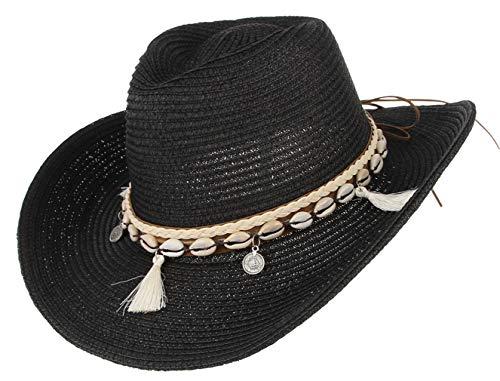 DEMU Damen Sommer Sonnenhut Sonnenschutz Panama Cowboy Fedora Hut Strohhut Strandhut Schwarz