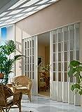 Doppelfalttür MARLEY President mit Fenster B 172 x H 205 cm Fb. eschefarben weiß mit Schloss