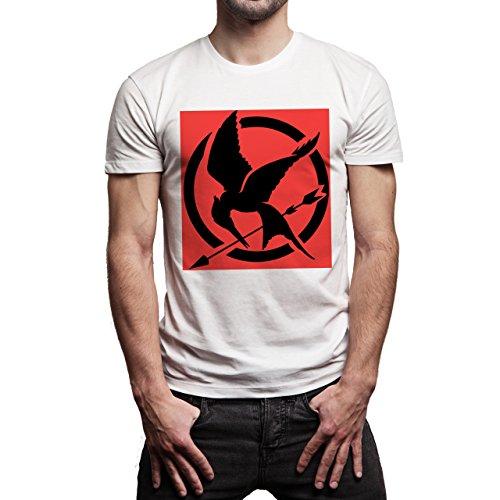 Hunger-Games-Mockingjay-Symbol-Red-Black-Background.jpg Herren T-Shirt Weiß