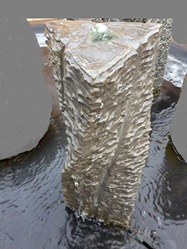floristikvergleich.de Basalt QUELLSTEIN Säule 50 cm NATURSTEIN Gartenbrunnen Wasserbrunnen Wasserspiel