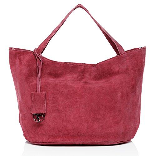 BACCINI Handtasche mit Langen Henkeln echt Wildleder Selma groß Henkeltasche Schultertasche Ledertasche Damen pink - Große Neon Tote Taschen
