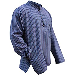 Multi Color Mix muy ligero peso de rayas dharke manga larga tradicional camisa de abuelo, hippy boho, S, M, L, XL, XXL y XXXL multicolor mezcla de morado XXXX-Large
