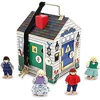 Melissa & Doug 12505 Take-Along Wooden Doorbell Doll's House - Doorbell Sounds, Keys, 4 Poseable Wooden Dolls, multicolour